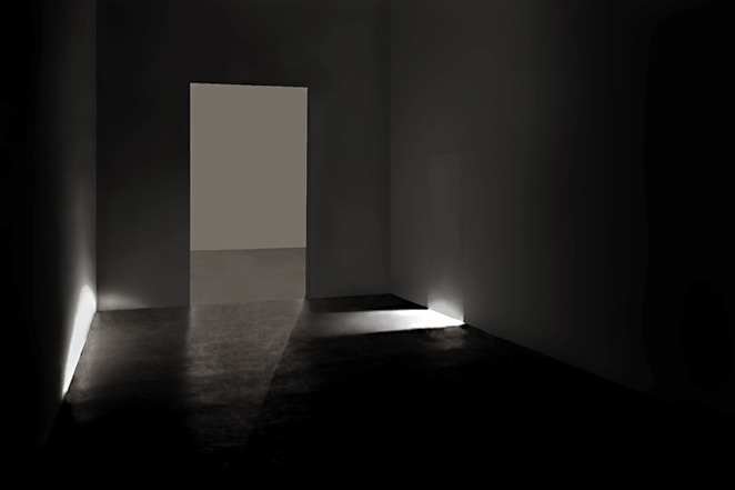Gunda Foerster, LIGHT SLIT # 2, spotlights, 7 pieces in 7 rooms, Kunstverein Hannover, 2001