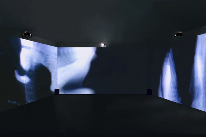 Gunda Foerster, BLACK-OUT-WHITE (Exposure), slide projection + sound, 2000_1