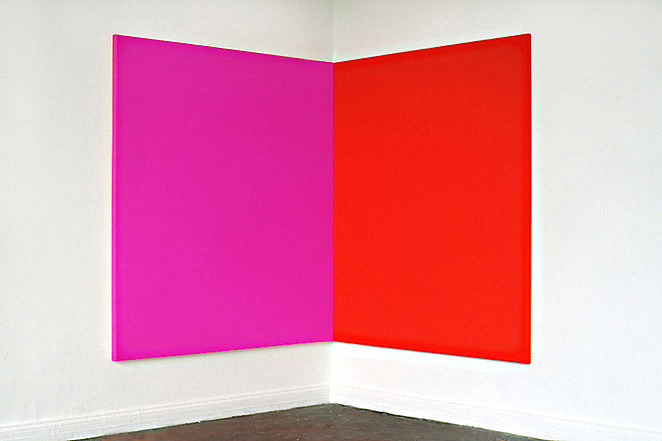 Gunda Forster, Pink-Red (corner), two parts, 185 x 185 x 4,6 cm each | Oil / Canvas, 1993