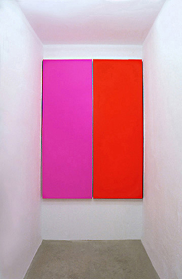 Gunda Forster, RED (Pink-Red), two parts, at all 193 x 150 x 5,6 cm | Oil / Canvas, 1994